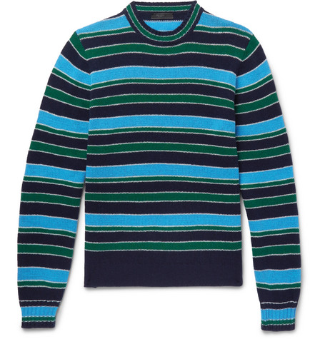 Striped Virgin Wool And Cashmere Blend Sweater by Prada