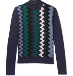 Prada Zigzag-Intarsia Virgin Wool and Cashmere-Blend Sweater