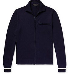 Prada Slim-Fit Striped Virgin Wool Zip-Up Cardigan