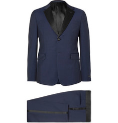 Prada Navy Slim-Fit Silk Satin-Trimmed Wool and Mohair-Blend Tuxedo