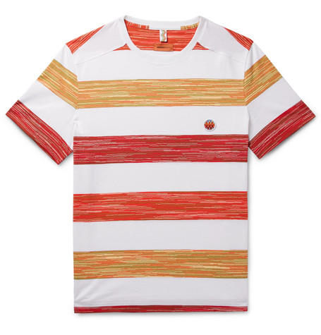 Missoni Space-dyed Striped Cotton T-shirt - White