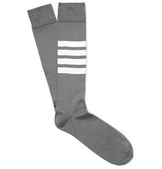Thom Browne - Striped Cotton-Blend Socks
