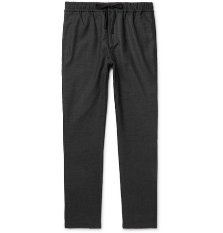 Stretch-wool Drawstring Trousers - Dark gray