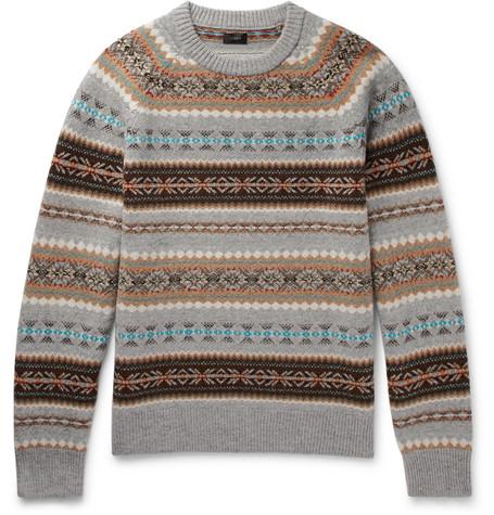 J.crew Alta Fair Isle Wool Sweater In Gray
