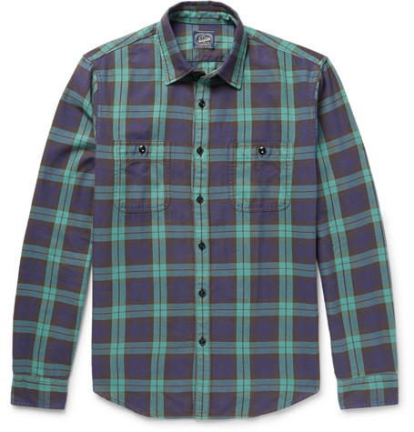 Checked Cotton-flannel Shirt - Green