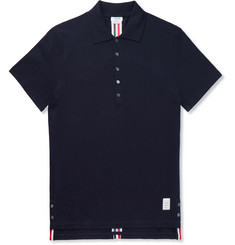 Thom Browne - Striped Cotton-Piqué Polo Shirt