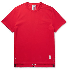 Thom Browne Grosgrain-Trimmed Cotton-Piqué T-Shirt