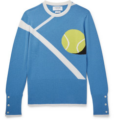 Thom Browne Tennis Ball-Intarsia Cashmere Sweater