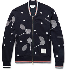 Thom Browne Embroidered Cotton-Jersey Bomber Jacket