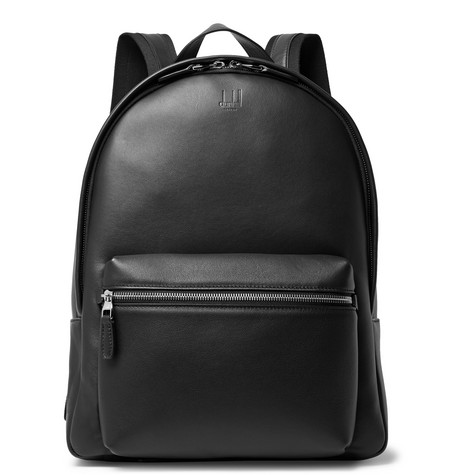 Hampstead Canvas-panelled Leather Backpack - Black