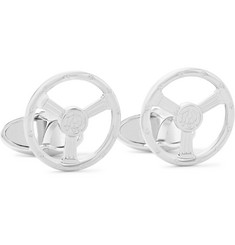 Dunhill Steering Wheel Rhodium-Plated Cufflinks