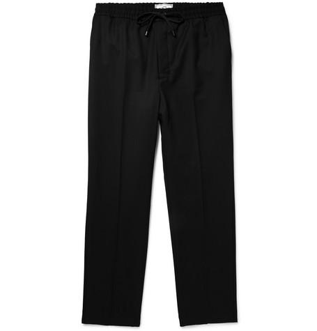 Slim Fit Virgin Wool Twill Drawstring Trousers by Ami