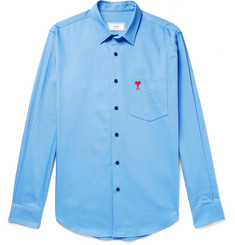 AMI - Slim-Fit Embroidered Cotton-Twill Shirt