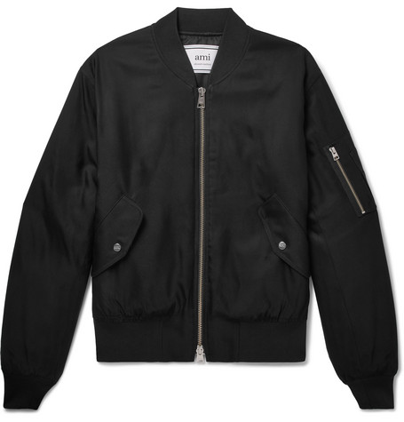 Satin-twill Bomber Jacket - Black