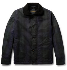 Freemans Sporting Club N-1 Black Watch Checked Shearling-Lined Waxed-Cotton Jacket