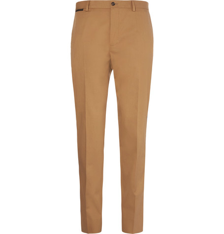 Slim-fit Logo-print Stretch-cotton Gabardine Trousers Dolce & Gabbana