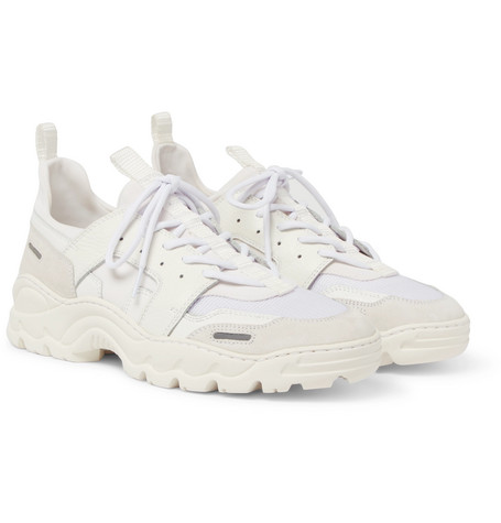 Panelled Leather, Mesh And Suede Sneakers by Ami