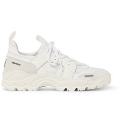 AMI Panelled Leather, Mesh and Suede Sneakers