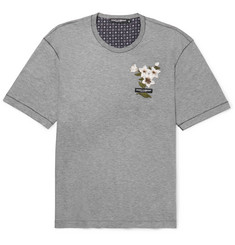 Dolce & Gabbana Appliquéd Cotton and Silk-Blend Jersey T-Shirt