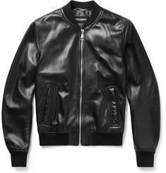 Dolce & Gabbana Oiled-Leather Bomber Jacket