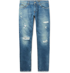 Dolce & Gabbana Slim-Fit Distressed Denim Jeans