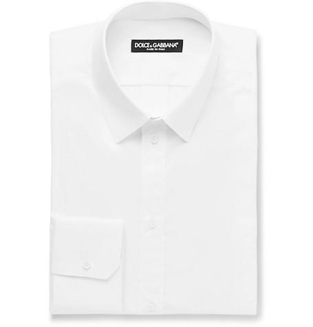 White Slim-fit Cotton-poplin Shirt