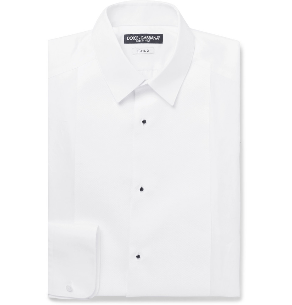 White Slim-fit Bib-front Cotton-poplin Tuxedo Shirt - White