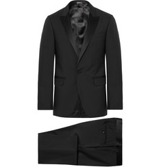 Lanvin Black Slim-Fit Satin-Trimmed Wool And Mohair-Blend Tuxedo