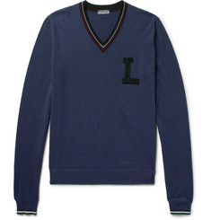 Lanvin Slim-Fit Appliquéd Cotton and Baby Alpaca-Blend Sweater