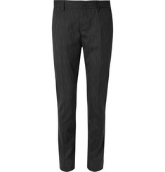 Lanvin Black Slim-Fit Striped Stretch-Wool Trousers