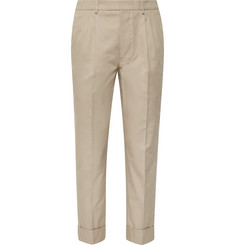 AMI - Slim-Fit Tapered Pleated Cotton-Gabardine Trousers