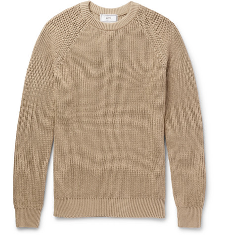 Ribbed Mercerised Cotton Sweater by Ami