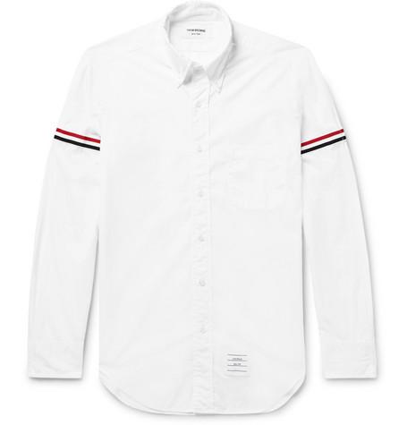 Grosgrain Trimmed Cotton Poplin Shirt by Thom Browne