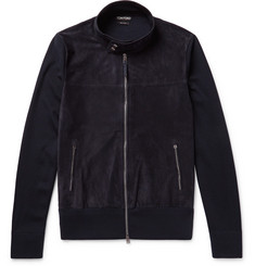 TOM FORD Slim-Fit Suede-Panelled Wool Zip-Up Sweater