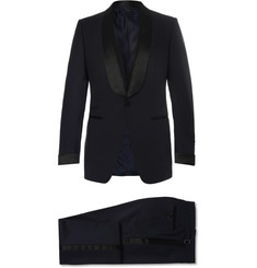 TOM FORD Midnight-Blue O'Connor Slim-Fit Satin-Trimmed Grain De Poudre Wool Tuxedo
