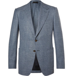 TOM FORD Blue Shelton Slim-Fit Wool, Silk and Linen-Blend Suit Jacket
