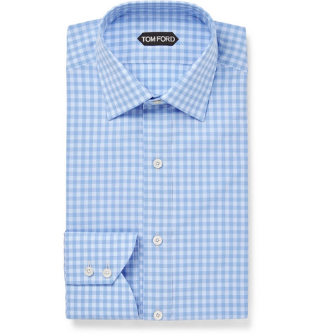 Blue Slim-fit Gingham Cotton Shirt - Blue
