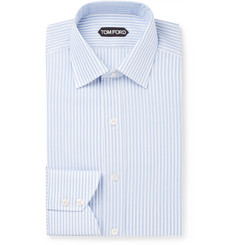 TOM FORD - Slim-Fit Striped Textured-Cotton Shirt