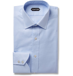 TOM FORD - Light-Blue Slim-Fit Puppytooth Cotton Shirt