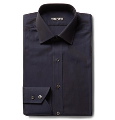 TOM FORD Midnight-Blue Slim-Fit Cotton-Poplin Shirt