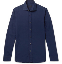 TOM FORD Navy Linen and Cotton-Blend Shirt