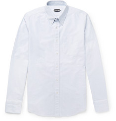TOM FORD Button-Down Collar Striped Cotton Oxford Shirt