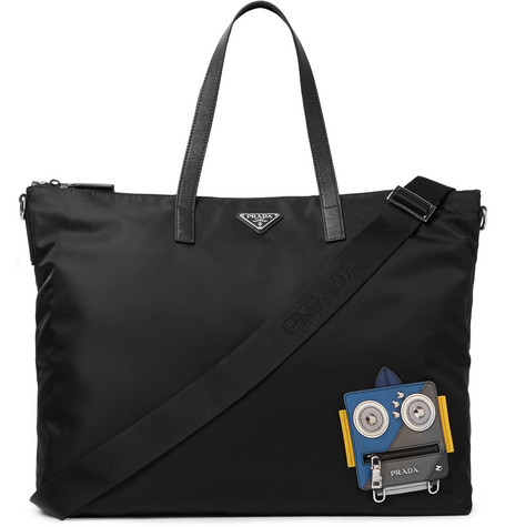 Robot Saffiano Leather Trimmed Nylon Tote Bag by Prada
