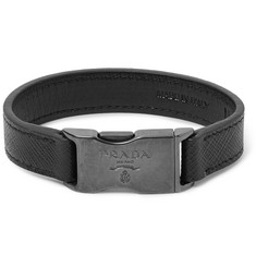 Prada Saffiano Leather and Gunmetal-Tone Bracelet