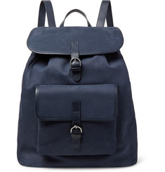Isaia Leather-Trimmed Textured-Suede Backpack