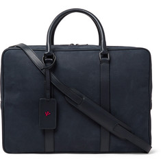 Isaia Leather-Trimmed Textured-Suede Briefcase