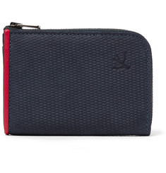 Isaia - Leather-Trimmed Textured-Suede Zip-Around Wallet