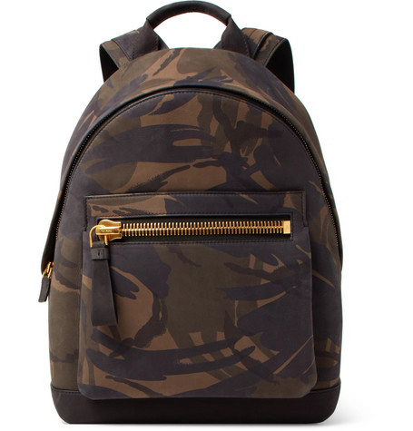 Camouflage-print Nubuck Backpack - Green