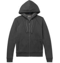 Bottega Veneta Intrecciato Leather-Trimmed Cotton and Wool-Blend Hoodie