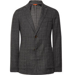 Barena Grey Slim-Fit Unstructured Prince of Wales Checked Wool Blazer